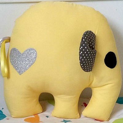 mobilampshades mellow yellow elephant cushion