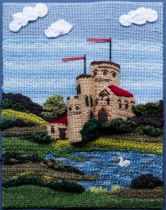 3D crocheted castle panel